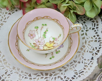 English Teacup and Saucer Set, Pink Teacup Set, Handpainted, Wild Flowers Teacup, Tuscan Fine China, c1947, Vintage Tea Party