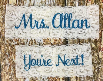 Personalized Garters, Something Blue, Personalized Garter, You're Next, Wedding Garter, Personalized Wedding Garters, Toss Garter