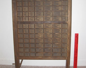 Antique Printers Letterpress Drawer Tray Type Case with Metal Hinge