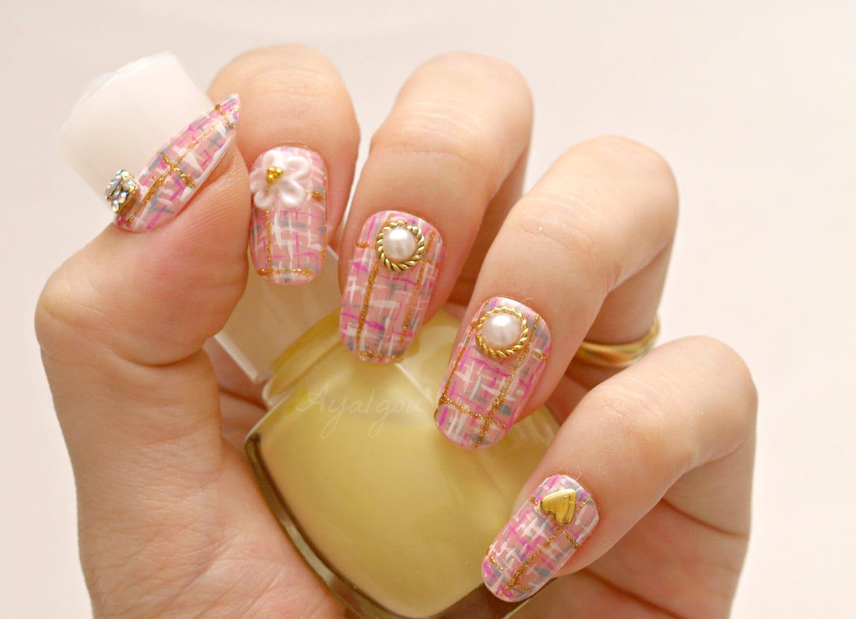 Pink nail, tweed nail, nail bow, kawaii nail, gyaru nail, Japanese ...