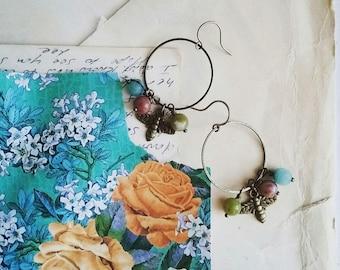 Abeille boucles d'oreilles, créoles perles colorées Eaarings, Boho abeille pendants d'oreilles, bijoux de Style Vintage pour les femmes