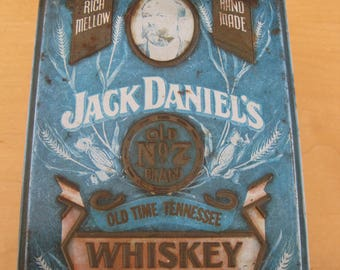 Vintage Brass Blue Jack Daniel Hinged Tin Box