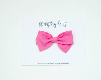 Bubblegum pink Fabric Bow, Hand Tied Fabric Bows, Baby Girl, Toddler, Girls Fabric Bow Headband or Hair Clip