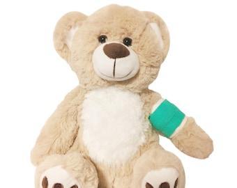 Teal Cast Broken Arm Higgy Bear