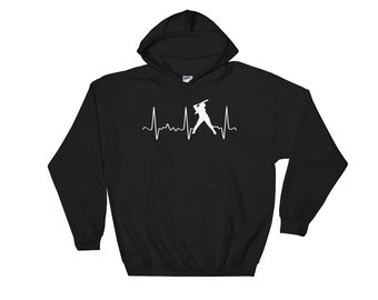 Cute Softball Hoodie - Softball Mom Hoodie - Softball Mom Gear - White Softball Heartbeat - Softball Dad Gear - Fun Softball Sweatshirt