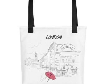 Tote bag London Hand Drawn illustration