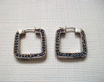 Blue Rhinestone Square Hoop Earrings, Vintage Silver Tone Dangle Drop Pierced Earrings, Sapphire Look Costume Jewelry