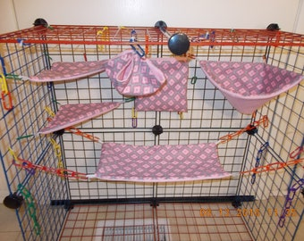 GRAY With PINK SQUARES Sugar Glider 6 pc cage set