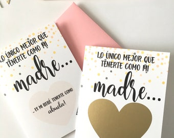 SPANISH Pregnancy Reveal to Mother Scratch Off Card - Pregnancy Announcement for Madre - New Abuela Card - SPANISH CONFETTI