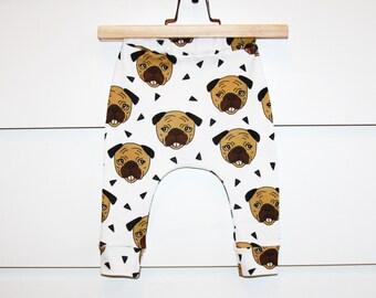Pugs baby boy leggings,  baby girl leggings, organic baby clothes, baby boy clothes, baby girl clothes, baby harem pants, baby pants, dogs