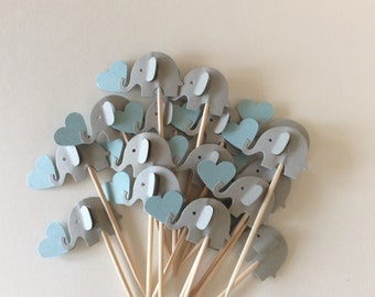 24 elephant cupcake toppers Gray and blue and gray Party Picks - Cupcake Toppers Baby Shower - Food Picks