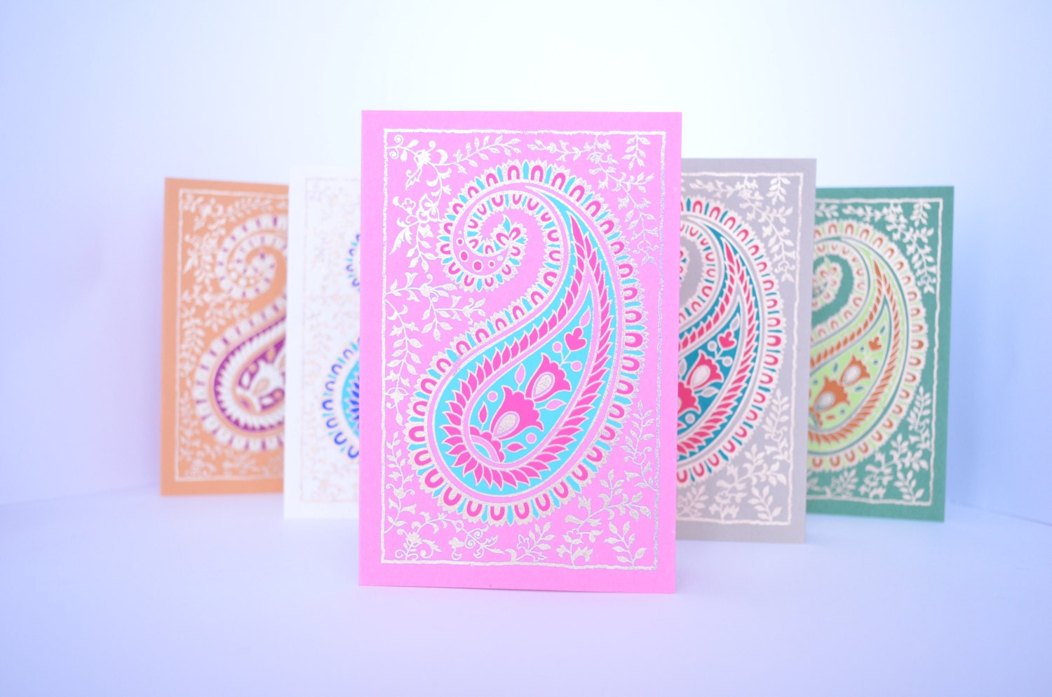 Paisley Blank Greeting Card Set Eid Indian wedding cards