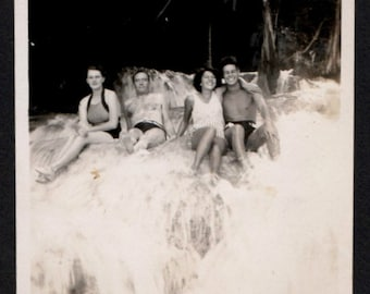 Vintage Photo Group of Friends Sit in Waterfall 1930's, Original Found Photo, Vernacular Photography