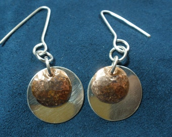 Sterling Silver and Hammered Copper Disk Earrings