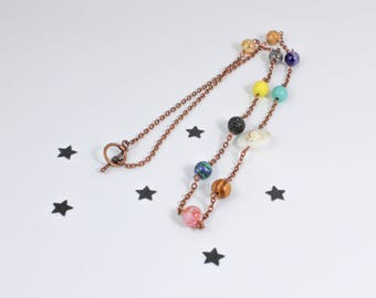 Solar System Necklace, Planets Necklace, Outer Space Necklace, Cosmic Necklace, Astrology Necklace, Astronomy Jewelry, Galaxy, Long Necklace