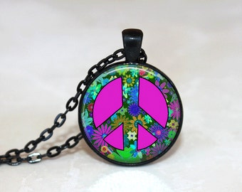 Peace Sign Necklace Glass Tile Necklace Glass Tile Jewelry Peace Sign Jewelry Hippy Necklace Flower Necklace Black Jewelry Hippy Jewelry
