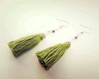 Boho earrings. Green tassel