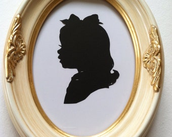 5x7 inch White and Gold Wood Silhouette Frame