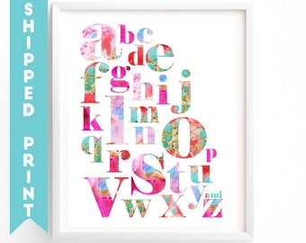 PRINT Alphabet print, Alphabet Letters Print, A to Z Learning Alphabet, Nursery Wall Art,