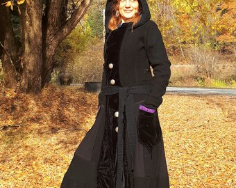 Wool Dress coat/boiled wool/Up cycled wool/Winter coat/Katwise Inspired coat/Celtic knotwork trim and buttons/Shipibo textile backVelvet