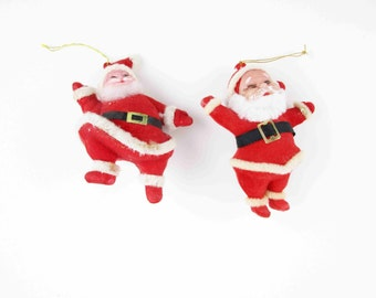 Vintage Felted Santa Claus Tree Hangers - Bright and Cheery - Blow Plastic With Felting - Tree Ornaments - Different Style Santas