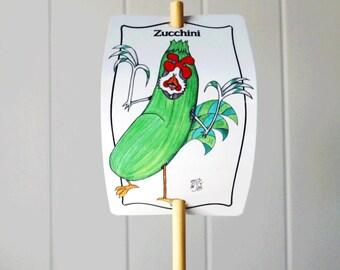 Vegetable Marker Zucchini for Gardens Decor Aluminum Sign Urban Farming Customizable