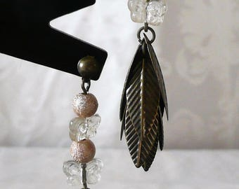 Bronze earrings with leaves and yellow beads 6cm