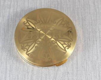 Vintage en métal doré rond poudre compacte avec miroir intérieur anglais britannique fait