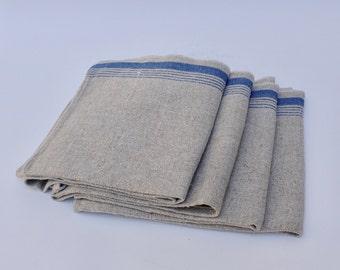 Set of Four Vintage Linen Napkins with Blue Stripe