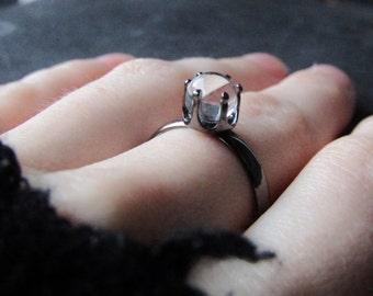 Crystal Ball Ring Gunmetal Gray  Brass Ring