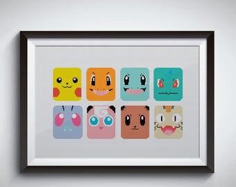 Pokemon cross stitch pattern / pikachu cross stitch / Naughty Charmander / Bulbasaur Pokémon / funny / instant digital download #A34