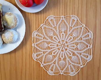 Ecru or Burgundy lace doily, crochet table topper, round crochet centerpiece 10 or 12 in, delicate wedding table decor, dreamcatcher doily