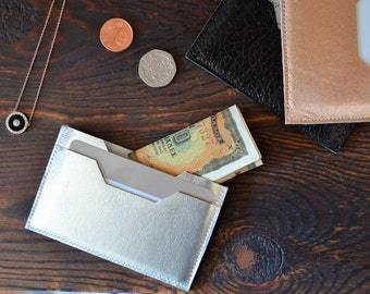 Leather Card Holder. Leather Card Case. Leather Card Wallet. Leather Wallet. Credit Card Case. Metallic Leather Card Case. Rose Gold Wallet
