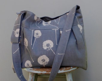 Grey Diaper Bag - Custom Hand Printed Dandelions -  Adjustable Strap Six Pockets - Attaches to Stroller