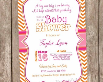 Girl baby shower invitation, pink and orange baby shower invitation, A Tiny New Baby Is On Her Way, printable invitation