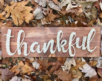 Thankful String Art, Thankful Wood Sign, Thanksgiving Wall Decor, Thankful Nail And String Art, Thanksgiving Decorations, Fall Wood Sign