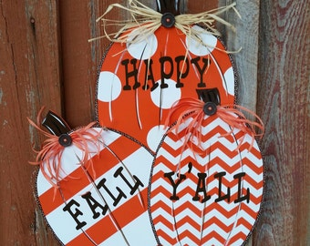 Happy Fall Y'all Fall Front Door Decor Pumpkin Door Decoration Fall Door Hanger Fall Decor Pumpkin Decor Thanksgiving Decor Porch Decor