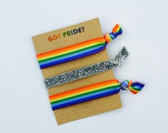 Pride Hair Ties, LGBT, LGBTQ, Lesbian, Gay, Bisexual, Transgender, Queer, Rainbow, Non Binary, Gender Fluid, Elastic Hair Ties, Creaseless