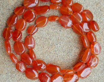 "Carnelian Oval Flat Nugget Beads, 8-10mm x 5-9mm - 14"" Strand"