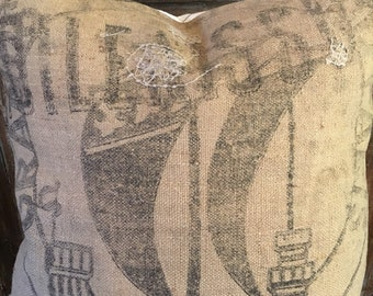 Vintage French Grain Sack With Ship Image Euro Pillow Cover