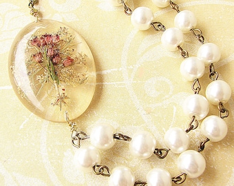 Real Flower Jewelry Real Flower Necklace Resin Jewelry Pressed Flower Necklace Bridal Jewelry Statement Necklace Bridesmaid Gift