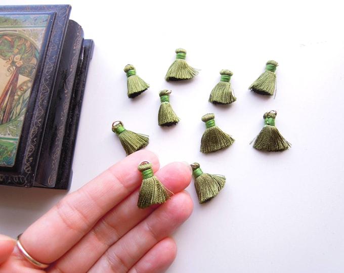 10 Olive Green Jewellery Mini Tassels, Green Jewelry Tassels, Small green silky tassels with ring, Green bracelet necklace tassel charms,