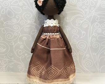 Black doll, African doll, Rag angel doll, Small soft doll, Textile Doll, Tilda Doll