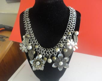 Flowered Necklace  with rhinestones 16 in With 3 in ext.