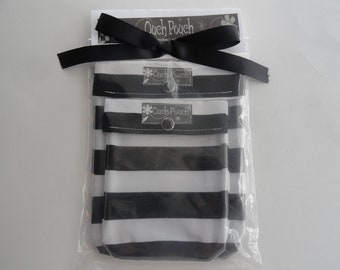 READY TO SHIP Mother's Day Black Stripe 2 Pack Ouch Pouch Gift Set Clear Front Cosmetic First Aid Travel Organizer Diaper Bag Purse Insert