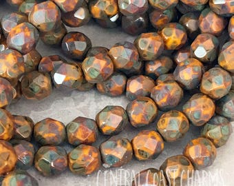 6mm Faceted Round Beads (25) Travertine Picasso Czech Glass Fire Polished - Butternut Orange Yellow - Boho Rustic - Central Coast Charms