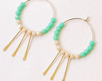 Turquoise Hoop Earrings, Turquoise Earrings, Thin Hoop Earrings, Gold Filled Hoops, Boho Earrings, Fringe Earrings, Fringe hoops