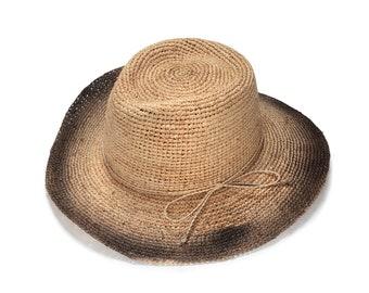 Wide brim black fedora straw hat , Mens straw fedora hat , Straw hat for women , Summer hats , Sun hat , Beach hat, Boho chic hat , raffia