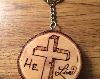 Wood Burned Christian Cross Key Chain
