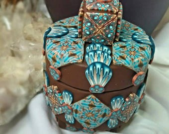 Arizona Desert Turquoise Flowers Polymer Clay Soap Stone Vessel Wyndsong Designs